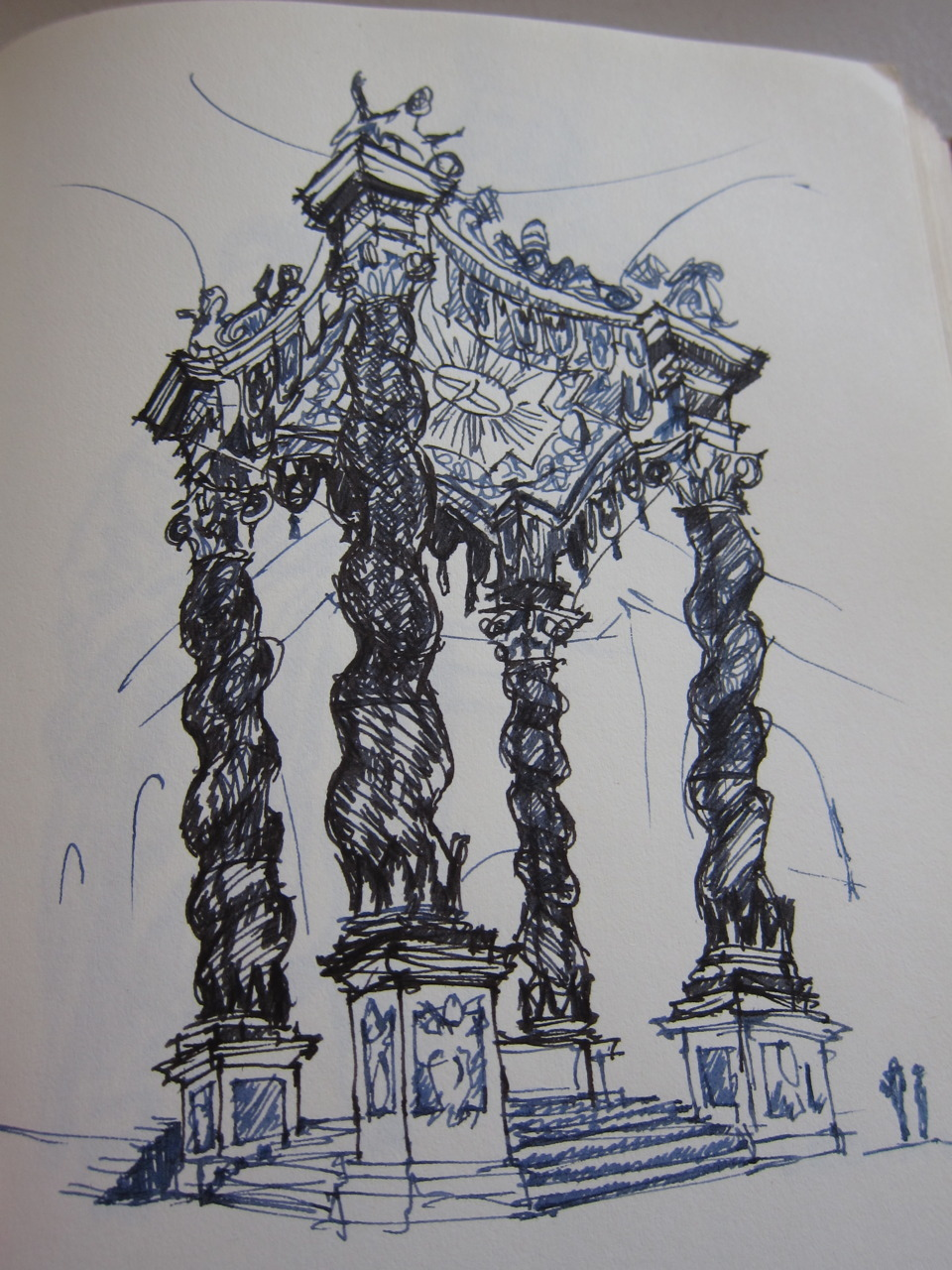 Sketch of Bernini's Baldacchino in St. Peter's, Rome. If you look closely at the real thing, you can see Boromini's hand in it.
