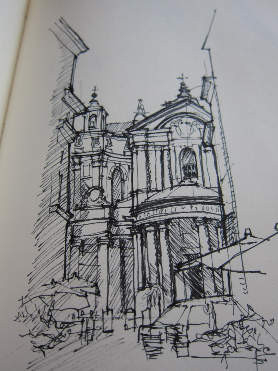 Quick sketch of Santa Maria della Pace - one of the premier Urban Stages created during the Baroque epoch in Rome.