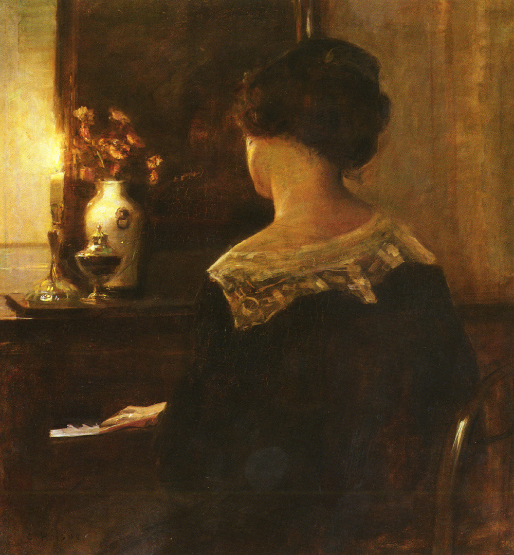 Carl Vilhelm Holsoe, A Lady Playing The Piano
