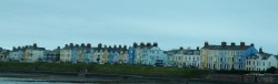 Panoramic view of colourful houses on the shore of a lake near Bangor, Northern Ireland