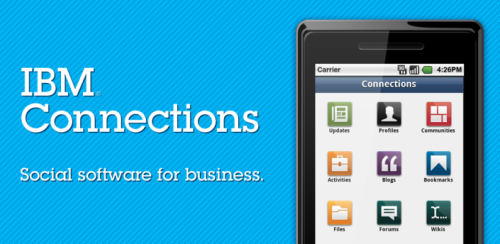 IBM Connections - Android Market IBM® Connections is social software for business. It enables you to build a network of colleagues and subject matter experts, and then leverage that network to further your business goals. With its integrated suite of tools, you can share and discuss ideas, work collaboratively on presentations or proposals, plan and track project tasks, and much more. IBM Connections is a web application that is deployed on a company intranet to promote collaboration within the company. The IBM Connections mobile application extends access to company data to employees who are on the go. via smarterplanet: