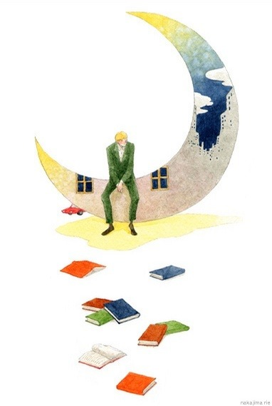 To the moon reading / A la luna de la lectura (ilustración de Rie Nakajima)