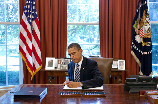 President Barack Obama signs the Budget Control Act of 2011 in the Oval Office, Aug. 2, 2011. (Official White House Photo by Pete Souza)