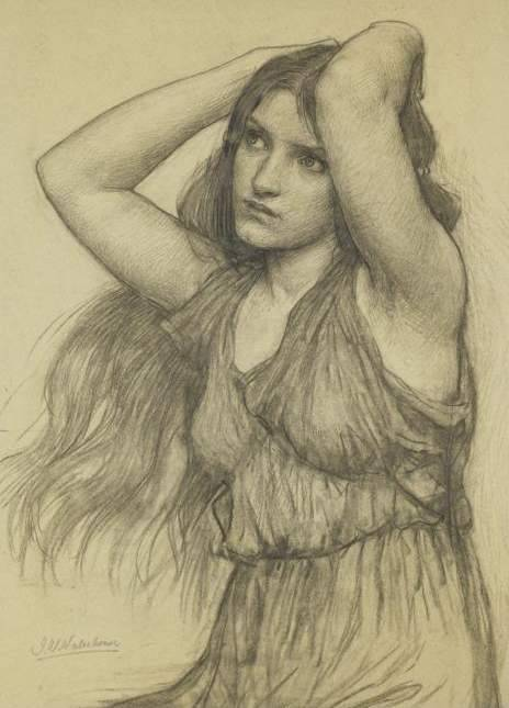 Charcoal study for Flora (Flora and Zephyrus, 1897) by John William Waterhouse