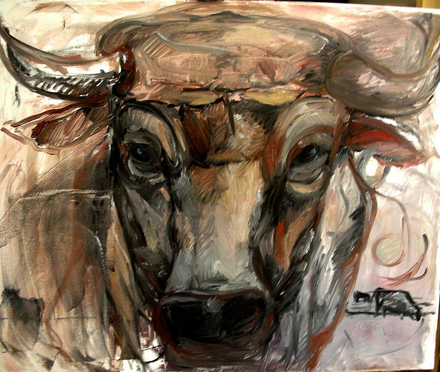 nondum:  'BULL-FALLLO' - first oil sketch on 1m canvas by JOANNA MIALKOWSKA -ART GALLERY on Flickr.
