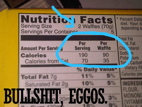 It would appear as though we're part of a demographic that Eggos was not expecting: Likes waffles, can do math.