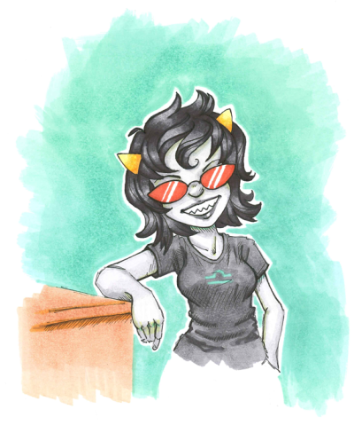 Terezi Pyrope from Homestuck. More Copic Marker on visual diary paper, drawn last night and scanned at work as 64-bit Photoshop does not support TWAIN any more. I'm at work super-early so I can borrow the AWESOME SCANNER that emails me the file as a PDF and EVERYTHING! It also doesn't butcher the colours as badly as my home scanner either. I think I may be in love with work's scanner. At some point I need to get a proper sketchbook with better paper than the visual diary stuff for Copic markers: they're a touch bleedy, which you can see from all my drawings so far. However, I am a big fat Copic n00b so I'm not really sure what I'm looking for. In other news, I've fallen into the Homestuck fandom-fail of not drawing realistic 13 year olds. BOOOOOOOOOBS. I should work on that.