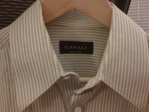 Just thrifted a Canali shirt for my fella! $3.08