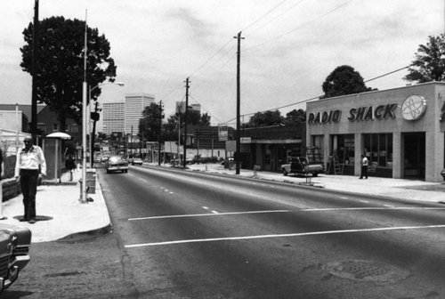 1970s view of Peachtree at 8th Street, looking north.  Midtown Atlanta (via Gallery | That '70s City: Scenes from Atlanta | ajc.com)