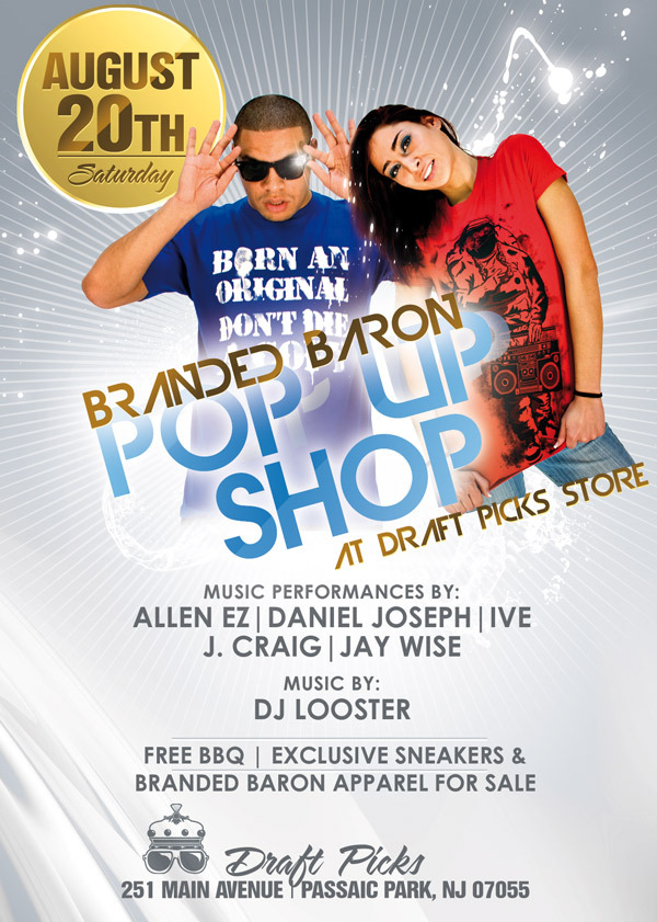 Branded Baron Pop Up Shop over at the store @draftpicks973 w/ performances by @therealjoshcraig @lyrically_Ive @jaywise31 @danieljoseph