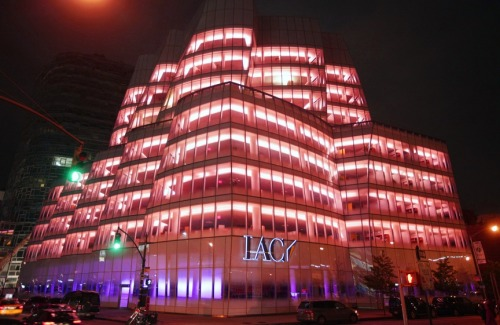 IAC Headquarter lit in pink for breast cancer awareness