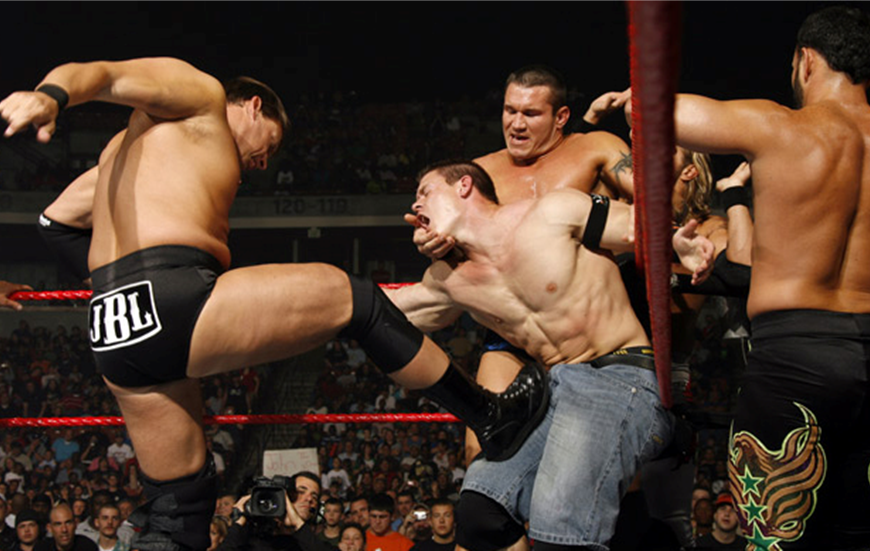 love watching cena suffer!!  centonsex:  Holding his head while he gets brutalized in the boner by JBL—what best friends do. Fun fact: Cena had a legit boner in that match. I know JBL's tits are so succulent and juicy, but calm down, stud.