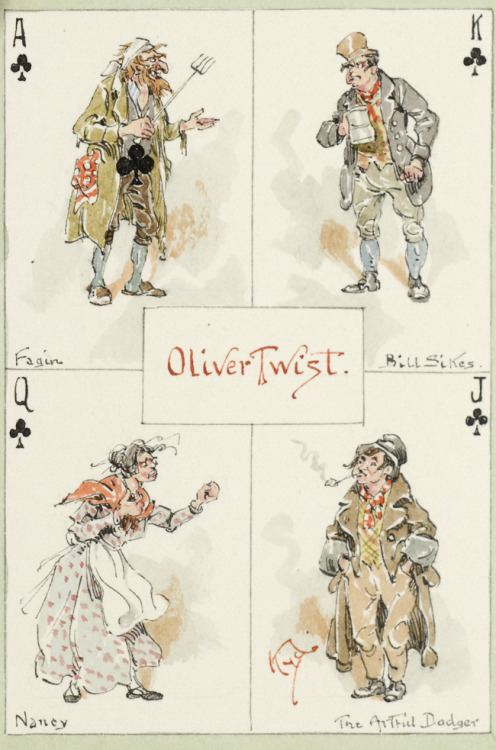 "A Handful of Cards for all Lovers of the Works of Charles Dickens KYD (pseudonym of Joseph Clayton Clarke)  A Handful of Cards for all Lovers of the Works of Charles Dickens. A series of fifty original designs by 'Kyd.' [N.p.: n.d., ca. 1920's]. Fifty-one original pen, ink and watercolor drawings (image size: 3 1/8 x 2 1/2 inches; 91 x 65 mm.) on separate sheets watermarked ""Reeves Greyhound Water Colour Paper England"", (leaf size 10 3/8 x 6 7/8 inches (264 x 174 mm) including fifty 'playing card' drawings and a pictorial title-page. Each drawing is signed by 'Kyd' within a colored wash border and includes captions identifying the characters and novels; each 'playing card' contains portraits of four different Dickensian characters (thus representing 200 characters in all), each represented as the Ace, King, Queen, or Jack of a given suit. Bound for Chas. J. Sawyer ca. 1925 in full green crushed levant morocco. Gilt ruled borders.  BA Note - Argh.  An Awesome Thing for a mere $15,000.  Lottery ticket time again…"