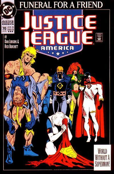 "Justice League America #70, ""Funeral For A Friend: Grieving,"" January 1993, written and penciled by Dan Jurgens The Justice League all mourns Superman, y'all. What the 27 year old thinks: Anything would be hard to top the actual death, right? Yes…but then again, you don't know me. I love death issues, especially mopey mourning ones. As a kid, I was not used to this type of stuff (no one got mourned on Captain Planet) so when I encountered it in comics, it felt super ADULT and new and shocking. Illyana's death and funeral in Uncanny X-Men #303 and #304 really hit me, and I had absolutely no clue who she was. So the fact that this doesn't…resonate with me…is odd. I dunno, maybe it's because this death is TOO big and Jurgens is juggling too much. Like literally a dozen or more former Justice Leaguers show up and kinda steal focus from the main cast. Guy and Ice's reactions are opposed and interesting, as is Maxima's. Illlyana's death hit me so hard because Scott Lobdell told the story through Jubilee's eyes and hers alone. Maybe that focus helps? That being said, I love Booster being worried about Blue Beetle. Love it. Sidenote: which hero has the power to create black armbands, cause those pop up PRETTY quickly. Also, those were given out at comic book shops back in late 1992, right? Come on, couldn't have missed that opportunity! What the 8 year old thinks: He's fine with this. Seeing all of the heroes, some of which he's only seen in the Super Friends cartoon up to this point, excites him and he isn't a discerning enough reader to really note the lack of focus. He's also super worried about Blue Beetle. Verdict: ""Comics can be sad, just like the episode of Muppet Babies where Gonzo loses Camilla."""