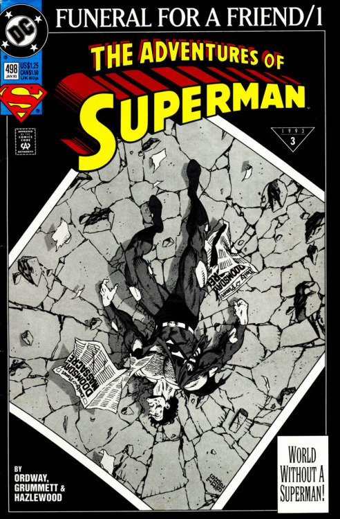 "Adventures of Superman #498, ""Funeral For a Friend 1 of 8: Death of a Legend,"" January 1993, written by Jerry Ordway, penciled by Tom Grummett Meanwhile, back at the scene of Superman's defeat, the super citizens (I still have no idea who any of these weird looking para-military goofballs are) of Metropolis try to resuscitate Superman. It doesn't work. What the 27 year old thinks: So far, I'm not digging the fallout. I get that Superman's death is a big deal, but an 8 part story with a prologue? Overkill? This entire issue covers just the resuscitation attempts and some minuscule subplot advancements and it's…just okay. I'm really interested in reading more of Lois' reaction, and that hasn't really been dealt with yet. I'm also waiting to find out how they cover up Clark Kent's disappearance too. But…none of that happens here. What the 8 year old thinks: Another okay issue, but compared to the rock'em sock'em roller coaster ride he's been on with the lead-up, all of this is boring. He wants to see people crying or flying, buster!! Verdict: ""Forget 'How Do You Talk To An Angel'! I sing 'How Do You Talk To Superman' now, cause he's dead!"""
