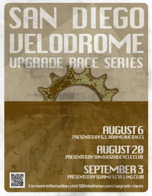 THIS WEEKEND AT SAN DIEGO VELODROME   I'm so stoked for the new USAC-sanctioned Upgrade Race Series down at SD Velodrome.  Get all the details HERE.