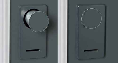 cdpwork:     INNOVATIVE DOORKNOB Even doorknobs can be improved upon. If a door is locked it should not be available to even try and open.  This shit is dope.  No, you may not enter my room. This doorknob says you're not even allowed to try.  this is my answer to privacy now