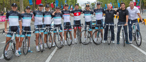 Andy and the rest of the Leopard-Trek Tour de France team. Tour de France 2011. Joost Posthuma, Jakob Fuglsang, Jens Voigt, Linus Gerdemann, Stuart O'Grady, Fränk, Fabian, Maxime Monfort and Andy.