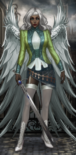 littlesin:  New avatar at Vampire Wars. I'm going for the avenging angel vibe. But not the soft and cuddling angels everyone pimps these days. I'm talkin' hardcore, bad ass angels in the biblical sense. You know, the kind that won't think twice about smiting you ass if you step out of line.   using this as reference picture. thanks, fashionable facebooker.
