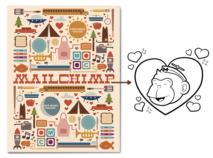Give aways (produce things that people love): Mailchimp (@mailchimp) is giving away a coloring book for children with its logo chimp as the main persona.