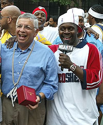 "In related NBA and Rucker Park news, here is an older photo of David Stern at the Rucker wearing Fat Joe's ""Terror Squad"" chain.  (h/t Matthew)"
