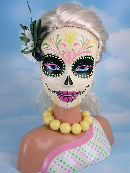 kittydoom:  Custom painted Barbie head by jammerdesignz