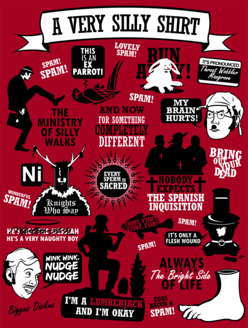 justinrampage:  Many of your favorite Monty Python quotes and characters are now consolidated into one design by Tom Trager. Shirts now available at his RedBubble store. Related Rampage: Scott Pilgrim Quotes Monty Python Quotes by Tom Trager (Facebook) (Twitter)  LOVE