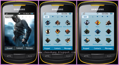Blue Assassins Creed Theme-Download Samsung Corby 2 Themes for free at http://choozhang.blogspot.com/2011/07/samsung-corby-2-or-s3850-blue-assasins.html