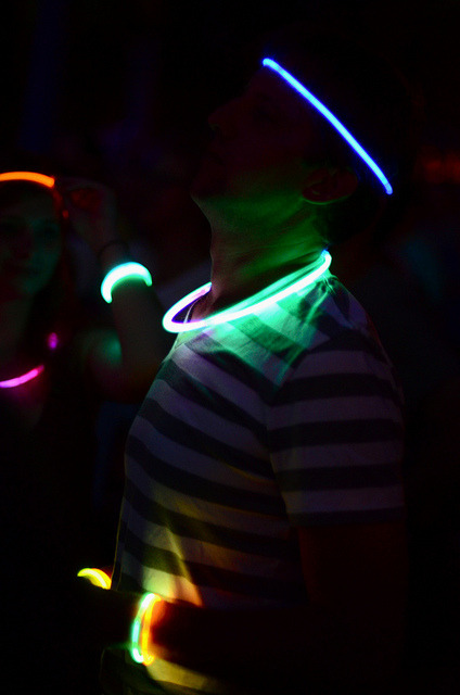 Glowsticks We were told to bring neon, glow sticks, and our dancing shoes, and this person brought at least one.