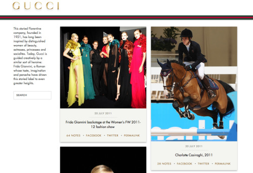 Luxury Daily: GUCCI joins Tumblr, and have also updated their iPad and iPhone applications this week.