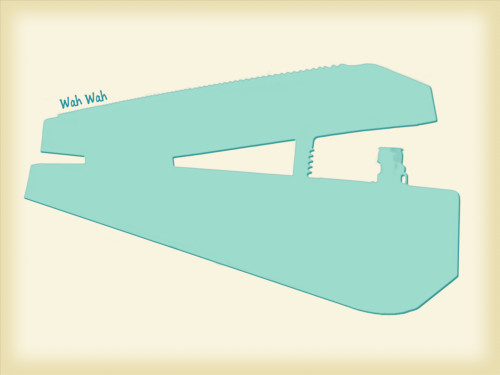 An illustration I made in photoshop of a Wah pedal. I stated by taking a picture of my wah, then I masked around it in photoshop. Then I replaced the picture of the wah with a solid blue colour and added some effects. What do you think, in my opinion it could do with some shading, but yeah…