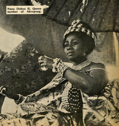 Royalty in GhanaNana Dokua II (Nah-Nah Doh-ku-a), Queen mother of Akropong (A-crow-pong). She is beautiful, isn't she? This picture of the Queen mother being carried in palanquin was taken in the 1960's.