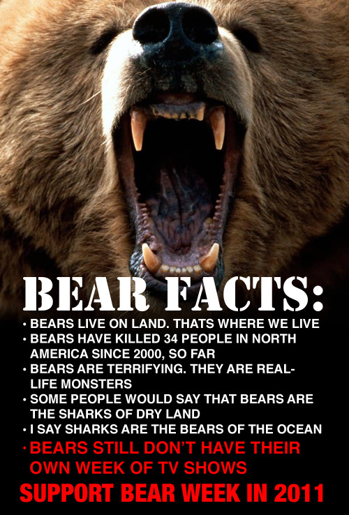 Get involved: Sign the petition  Submit your own reasons bears should have their own week on twitter with the hashtag #bearweek Tweet at Discovery network to let them know that your life would personally be enriched by Bear Week Tweet us your suggestions for who should host #bearweek. Rainn Wilson? Bear Grylls? Betty White?