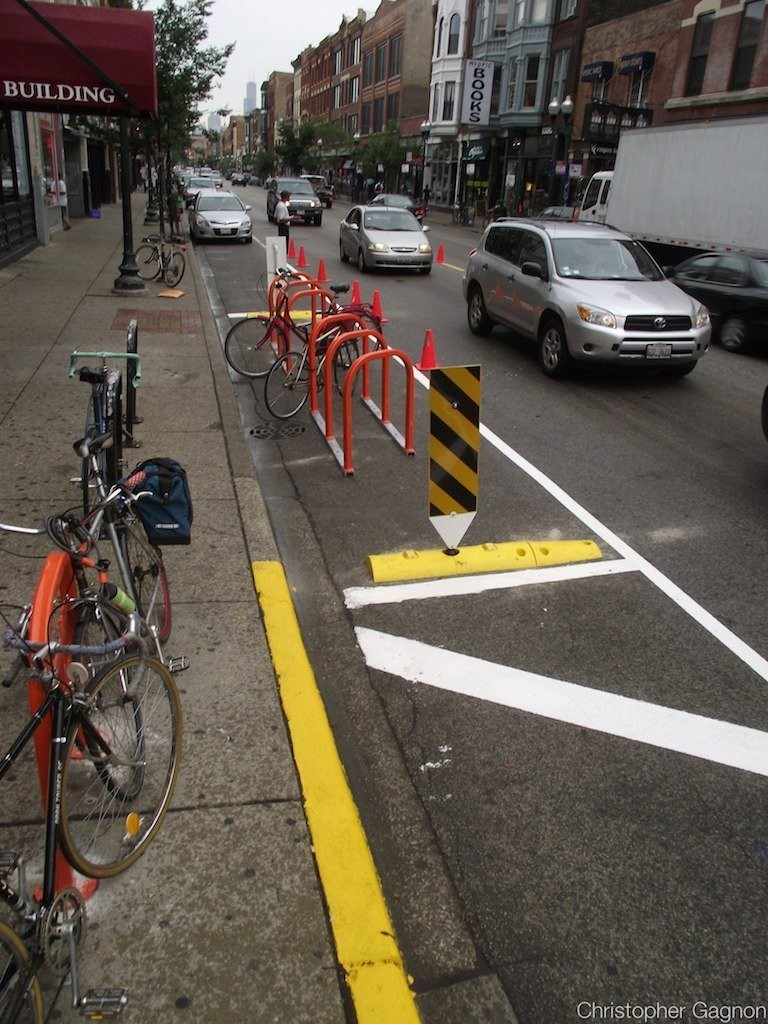 chicago-reader:  Ride 'em, cowboy: Chicago installed its first bike parking corral (yee-haw) on Milwaukee just south of North this weekend. Click through to read more about these it. (And a tip o' the hat to Katehasablog for posting up.)