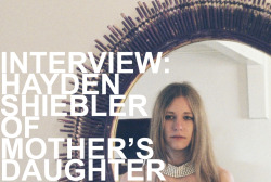 "Interview with Hayden Shiebler of Mother's Daughter.  By Pedro Hayden Shiebler is the owner of the locally-based online boutique shop, Mother's Daughter. Shiebler is also a film director/editor, and a photographer. Her roster includes music videos for Wax Idols and Devon Williams, her collaborative efforts with Tamaryn in Honey Suckled Video, plus she's got a lot more coming down the pike. To say the least, the girl is majorly busy. I checked in with Shiebler to ask her about her shop, clothes, her film work, and essential accessories. Night Fog Reader: For people who aren't familiar with Mother's Daughter, could you tell us a little bit about it's origins, and what its become? Hayden Shiebler: Mother's  Daughter is an online vintage shop I started in November of 2009. I  spent months before holed up in my parents house in rural Tennessee  developing the aesthetic and adjusting every miniscule detail possible.  It started as part time side project and is now my full time job.  Mother's daughter is a store but it's also become more than that, it  definitely promotes a specific feeling and look. The specific feeling  and look change subtly over time, just as people do. What can be  promoted, sold and shared through the shop is limitless and that is  really I think what sets it apart and made it what it's become. How would you describe your aesthetic? My  aesthetic is very decisive and deliberate. Nothing is haphazard, even  if it looks that way. I like contrast in all forms - mixing patterns,  sobering combinations of black and white, etc. I imagine that finding such unique articles of clothing can be  challenging at times. Raiding the thrift store bins is often the method  of many vintage-boutique shops. How is your approach different? Can you  tell us without telling us too much? I don't really know how other people do it, so maybe I don't  do it any differently? I just try to look at everything in the store, or  estate sale, or antique mall or wherever I am. Also I sometimes let a  piece set a precedent for my entire shopping trip. Like, if I find a  pair of pink satin trousers - I will kind of buy everything else I see  with that in mind. Not even matching just whatever look or vibe I get  from a certain piece. What's your sweetest find? I don't even know anymore, I  love clothes but because I cycle through them so quickly they all have  had their moments of being my favorite. I guess I have a 1930's cotton  lawn dress with all this beautiful mesh paneling that I will never wear,  if I had to choose. A lot of people have a negative knee-jerk reaction towards boutique  vintage clothing. Personally, I see it as artifact and preservation  work. How do you value vintage, and what do you find significant about  these types of clothing? I've realized I don't necessarily think you need to pay homage  to the past to look to the future, that seems to be a common  explanation for the value of vintage clothing. I bought vintage clothing  as a teenager because I worked a minimum wage job and had to be  creative with what was available to me. I never looked at it as being  ""valuable"" because it was vintage, it was cool because no one else had  the same clothes as I did and because I was given the chance to reinterpret something that had already been worn and make it my own. I think the value in vintage is giving a person the opportunity to take  something that has had a decided purpose for many years, and let it  become something that no one ever considered in the past. You photograph most of the content for your shop's site, and you  often travel for shoots. How do you scout locations? Do you have  any ""dream"" locations? I don't really scout locations, I  sometimes get recommendations from friends who have lived here their  whole lives, or just drive toward an area that has caught my attention  and do some exploring. We recently shot in the salt flats in Fremont, I  expected it to be sprawling, pastel and dreamy. It turned out to be  industrial, neon, and apocalyptic. This unexpected, impulsive element  probably adds a bit of energy to the images. I wish San Francisco was a  bit closer to the desert, any desert location is my dream location. I love the abyssal and stark beauty of the desert. In addition to doing this shop and managing it's visual content,  you've also directed a music video (Wax Idols - All Too Human). How did  this come about, and do you have anymore videos in the works? When  I had previously taken photos for Wax Idols, Hether and I really meshed  well creatively. She trusted my sensibility and I trusted her vision. I  expressed my interest in starting to do video work, she needed a video,  it just kind of came together really effortlessly - a natural  progression. I have one video completed that was made in collaboration  with Honey Suckled Video (Devon Williams ""Your Sympathy""), three others that  are on their way to completion (Dominant Legs, Religious to Damn,  Plateaus). Some of these I'm solely directing or editing, others I'm  filling all positions myself.I can't resist myself from asking a fashion advice question. Could  you list 5 articles of clothing or accessories every person should  have?I live in San Francisco, this may only be practical for people who live here too: 1. black suede or leather ankle boots, with a heel.2. suede mini skirt3. silk kimono4. tailored trousers 5. cropped sweater Mother's Daughter carries these things consistently, so my list is kind of obvious. Take a look at some of the new arrivals at Mother's Daughter:   Be sure to visit Mother's Daughter, and be on the lookout for her film work, which includes the collaboration project Honey Suckled Video."