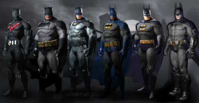 videogamenostalgia:  Alternate Batman: Arkham City Costumes Announced Rocksteady has announced six costume skins that you can get in Batman: Arkham City depending on where you pre-order/purchase the game. Arkham City fan-site arkhamcity.co.uk has provided descriptions and links to where you can get each costume. I wish I could get them all, to be honest. Note: The above image is fan-made. It is not an official image from Warner Bros. or Rocksteady.  Batman Beyond dude wasn't even Bruce Wayne, and what's with Fatman? They do look cool though!