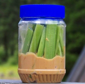 fitnesstreats:  Snack-tip: just stick celery sticks in a jar filled with an inch (2,5 centimeters) of peanut butter for an easy snack on the go.