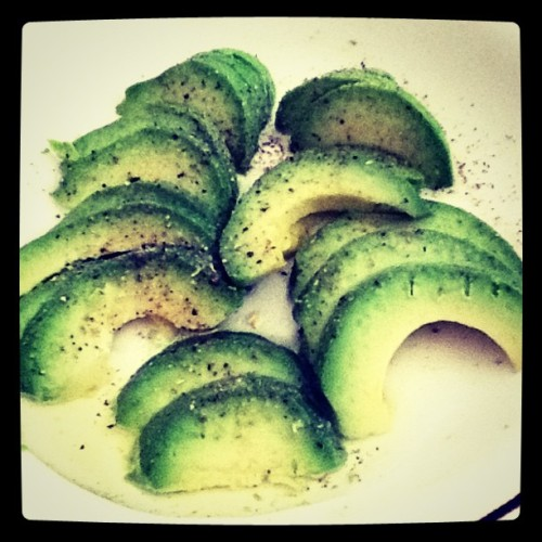 Avocado, lightly salted and peppered. Favorite breakfast. (Taken with instagram)