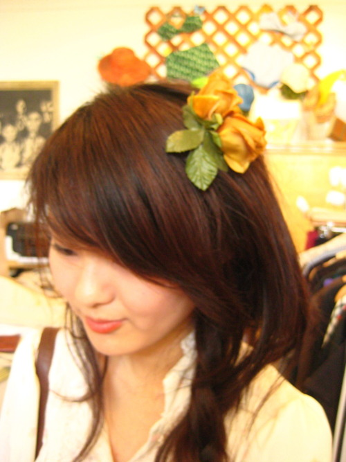 Just in: Floral Hairpins and for a fine price of $6! Snapped is customer and first pin purchaser, Tiffany. :)