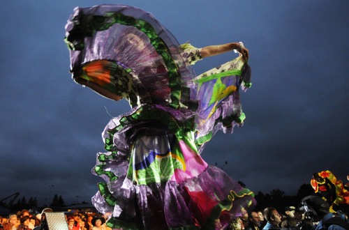 A dancer performs during the annual Roma Music and Culture Festival in Glinojeck, Poland, on Friday, July 22, 2011. (AP Photo/Alik Keplicz) #