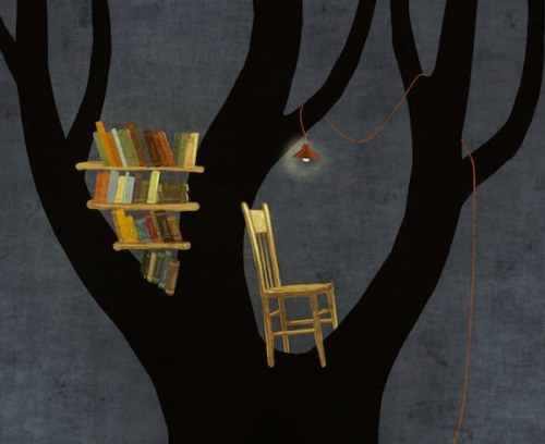 Library in the tree: where the reader? / Biblioteca arbórea: dónde está el lector? (ilustración de Toni Demuro)