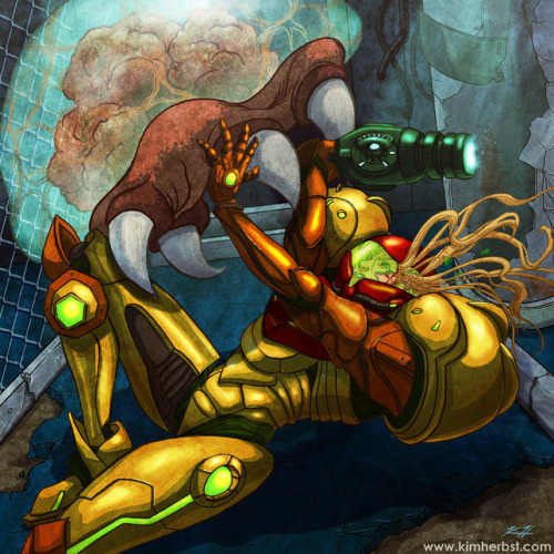 "Samus puts up a good fight in Kim Herbst's new Metroid piece for the upcoming Geek-Art / Autumn Society's ""8-Bit Champions"" show. Find more entries for the show here. Related Rampage: Dark Side BBQ Do it, Samus! by Kim Herbst (Blog) (Etsy) (Flickr)"