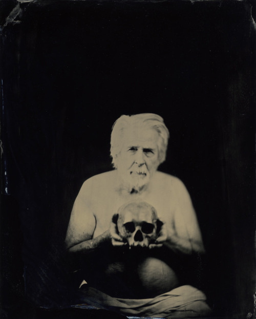 Tom @ Funny Farm Studio's Los Angeles. Wet Plate on 8 by 10 Black Glass   ©Nikki Sixx