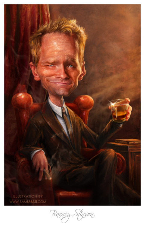 """Neil Patrick Harris aka Barney Stinson"" - Caricature Portrait by Sam Spratt In trimming down my portfolio for my new site, I tossed some of my older favorite pieces because they weren't up to par on a technical level. I couldn't stand to see the legendary NPH missing from my artistic arsenal, so I did the possimpible and dropped some serious hours into fixing anatomy, advancing and nuancing the lighting, going into detailed texture work, adding a few elements like the drapes and cigar, and layering in an all around smokey vibe to the portrait.  If you like this illustration, do follow me on tumblr (I follow back almost every person that follows me), or for the latest, I run a mean facebook artist's page and a musing-filled twitter."
