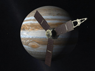 "Jupiter's secrets to be revealed by Juno spacecraft  This week, the NASA Juno spacecraft will embark on a $1.1 billion, five-year mission. Its goal is to spend a year in orbit around Jupiter, scrutinizing Jupiter from close range and helping to reveal the planet's secrets. Juno is set to launch August 5, 2011 aboard an Atlas V rocket. It will take about four Earth-years to reach Jupiter, and it will orbit the planet for at least one year. Scott Bolton, Juno principal investigator at the Southwest Research Institute in San Antonio, Texas spoke about the mission at a NASA pre-launch press conference on July 27, 2011. The main goals of Juno are to study the origin of Jupiter. It represents giant planets as we know them, around our star as around other stars. It holds a lot of key secrets on how we formed the solar system, where Jupiter came from, and also the rest of the solar system. Juno will achieve mission science goals with a spinning, solar-powered spacecraft that'll go into a unique polar orbit around Jupiter, one whose perijove – or closest point to Jupiter – is extremely close. From this close vantage point on the largest planet in our solar system, scientists will conduct two key experiments designed to understand Jupiter's origin. Bolton said that what scientists want to know is how much water lies inside Jupiter, and to get that they'll measure the abundance of oxygen they find. Oxygen is the third most abundant element in the universe and in the sun. So it's a big missing piece if we don't understand it. The second experiment will determine whether Jupiter has a core of heavy elements at the center, or whether it's just gas all the way down. ""So Juno's prepared to constrain those questions and provide the answers so that we can discriminate among models of how Jupiter formed and what the history of our early solar system was,"" said Bolton."