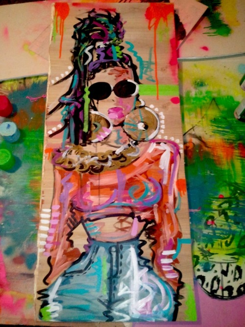 thesepinklips:  I just felt like painting..  I call her FLYGIRL.. Must of been all that 90's music that inspired this! WWW.THESEPINKLIPS.COM  interested email me thesepinklips@gmail.com :)
