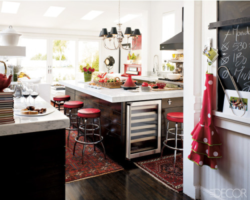 Now this is a dream functional kitchen Beautiful, shiny and easy to clean wooden floors that retain with a sense of comfort and warmth held for barefoot morning walks on funky fabric carpets A polka dotted apron to perk you up for any occassion Chalkboard countdowns and culinary creations scribbled by host or by guest