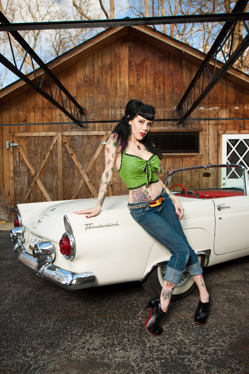pinuppost:  Miss Voodoo Valentine  Jon Ruby Photography Car courtesy of Uvudu? Imaging 1955 Thunderbird Top by my twin, Jessica Henry  missvoodoovalentine