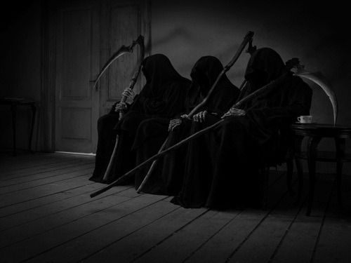 creepylittleworld:  The belief in the Grim Reaper most likely stems from an old practice dating as far back as the 9th century in Romania and Hungary. When a person died, a sickle was laid on his/her body to remind them that they could no longer wander the land of the living. The sickle portrayed the cutting down of life - the sickle being used for cutting crops.