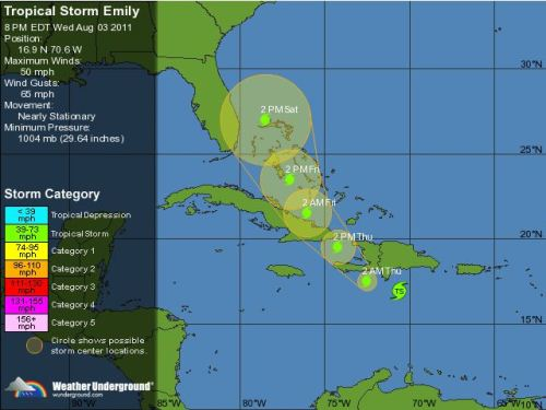 Tropical Storm Emily edges closer to land — including Haiti Tropical Storm Emily update: Meteorologists predict that Haiti will receive anywhere between 6 to 12 inches of rain, while some mountain regions could receive up to 20 inches. The current path puts the storm closer to the eastern coast of Florida, but after hitting Haiti/Cuba, the track may change. Worth keeping an eye on, guys. source Follow ShortFormBlog